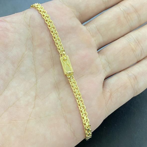 Pulseira Cadeado Duplo 3,5mm (Fecho Gaveta) (Banho Ouro 24k)