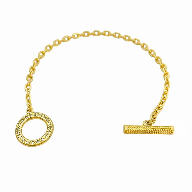 Pulseira Carrier Cadeado 3,5mm (Fecho Personalizado Cravejado em Zirncônia) (Banho Ouro 24k)