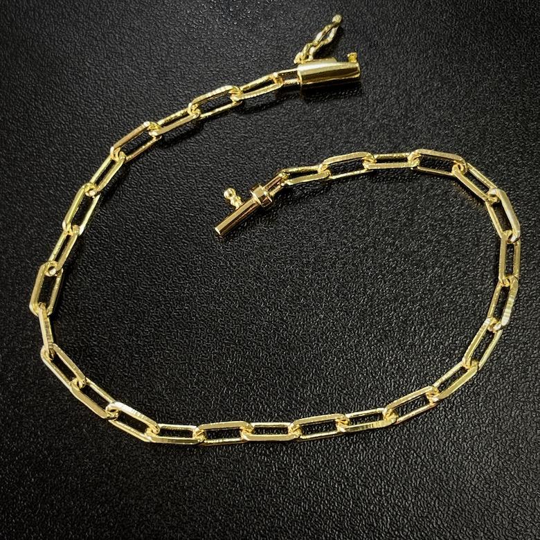 Pulseira Carrier Diamantada 3mm (Fecho Canhão) (Banho Ouro 24k)