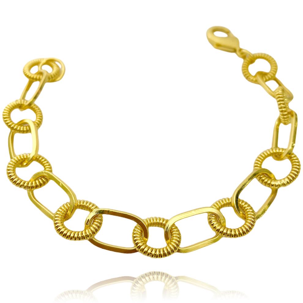 Pulseira Chain Elo Duplo Texturizado (18,1g) (Banho Ouro 24k)