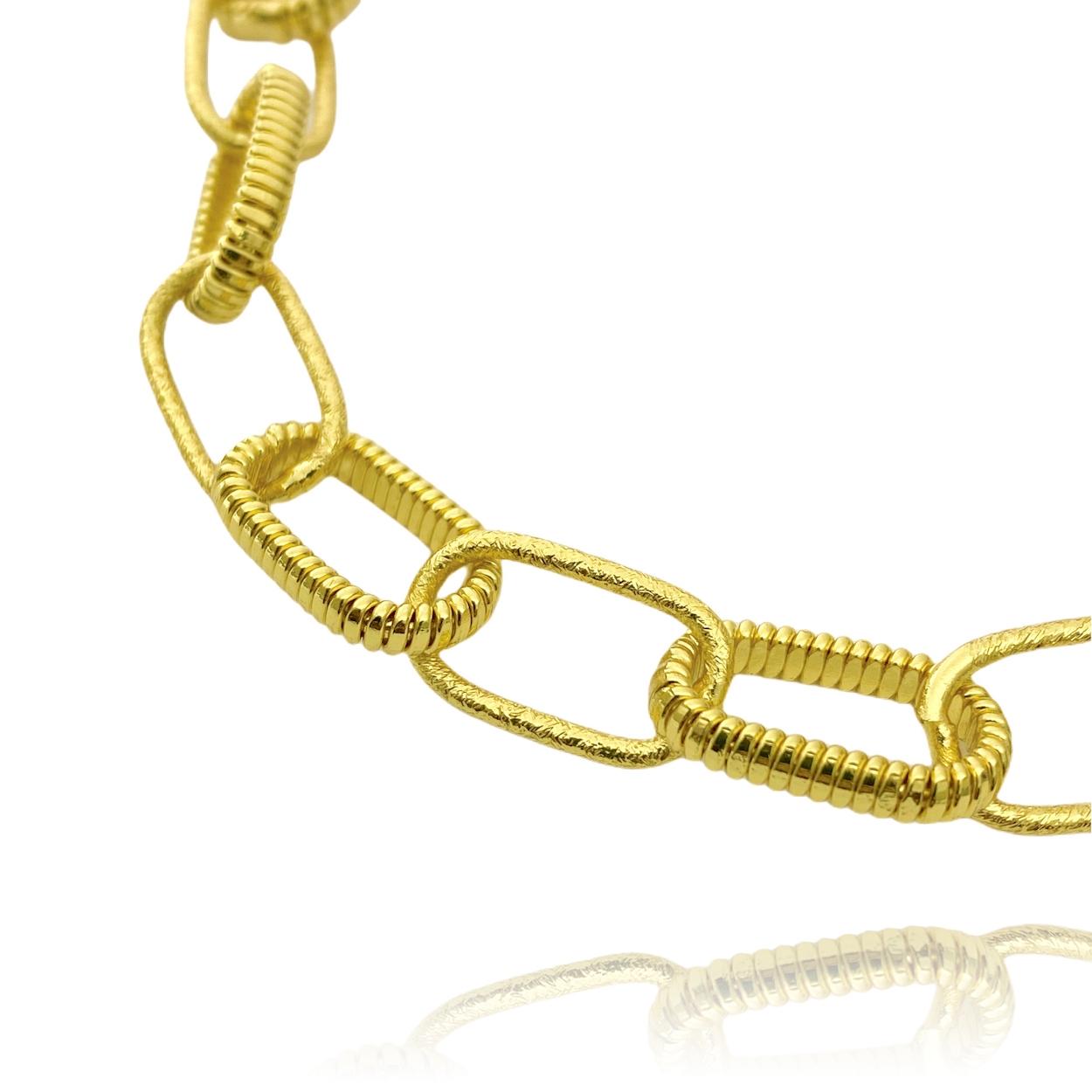 Pulseira Chain Elos Texturizados (Banho Ouro 24k)