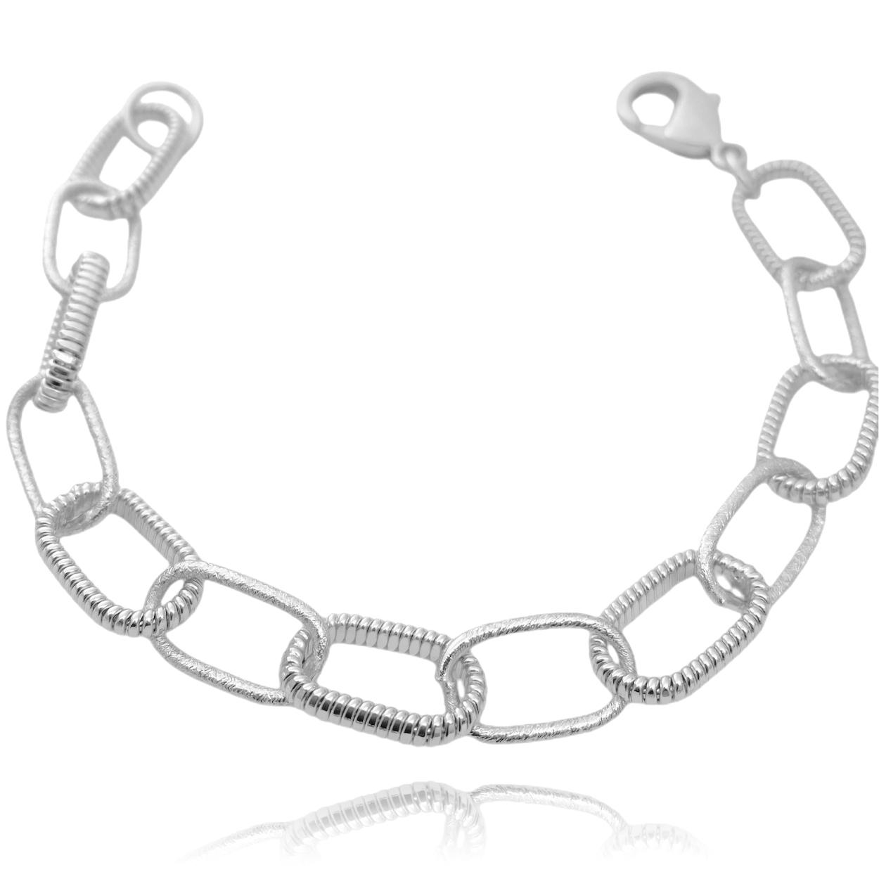 Pulseira Chain Elos Texturizados (Banho Prata 925)