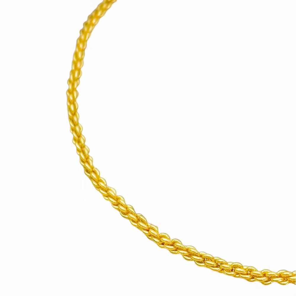 Pulseira Cordão Baiano 2mm (Fecho Canhão) (Banho Ouro 24K)