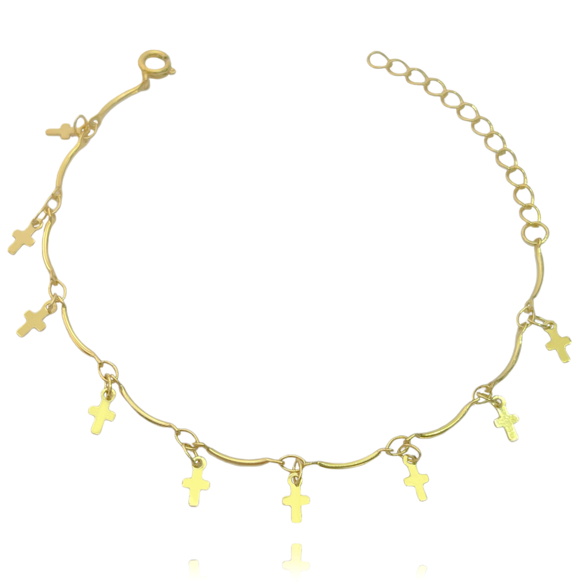 Pulseira Crucifixo Chapado Mini (Banho Ouro 24k)