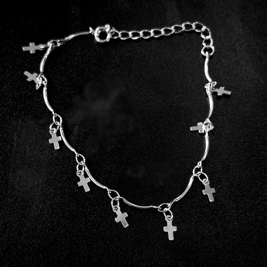 Pulseira Crucifixo Chapado Mini (Banho Prata 925)