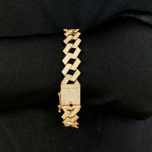 Pulseira Cuban Link Retangular Cravejada em Zircônia 14mm (32,1g) (Banho Ouro 24k)