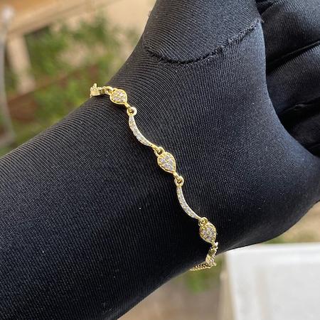 Pulseira Gotas Cravejadas em Zircônia (Banho Ouro 24k)