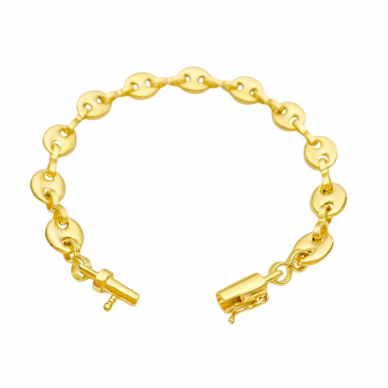Pulseira Gucci Link 8mm (9,4g) (Fecho Canhão) (Banho Ouro 24k)