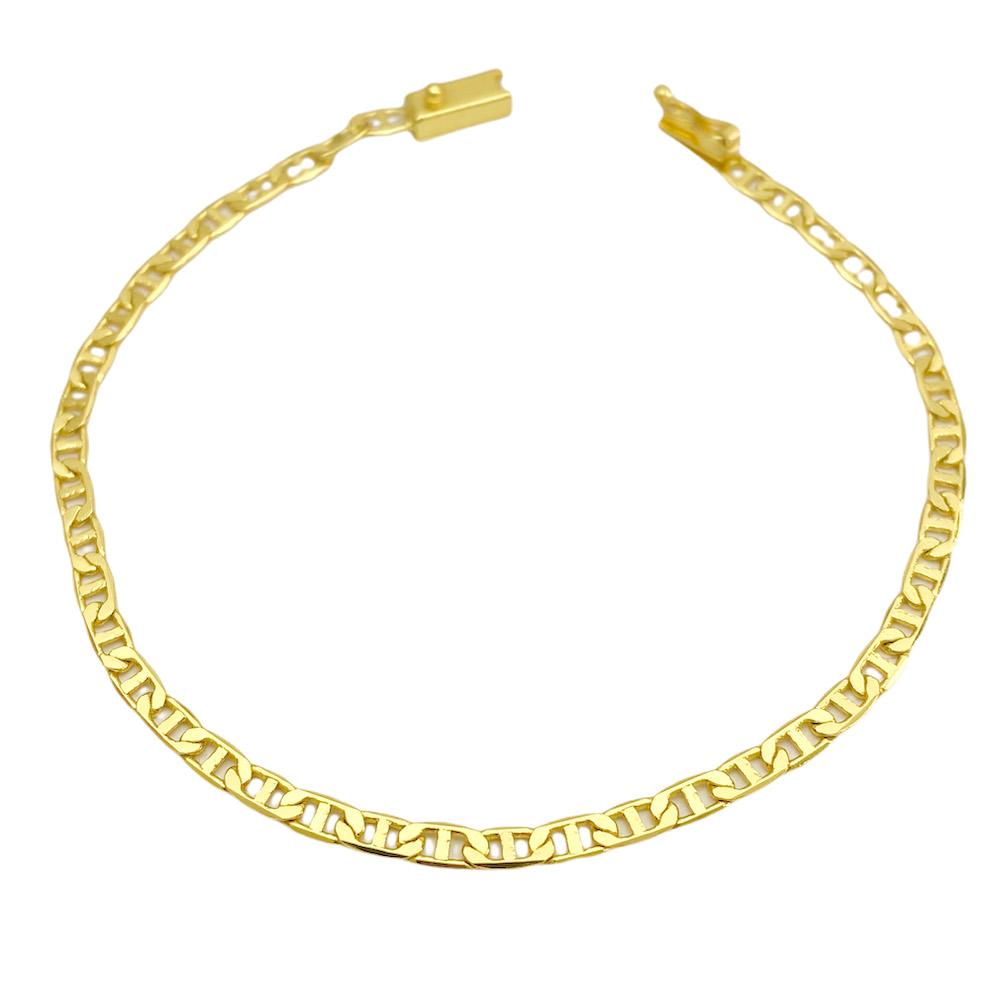 Pulseira Piastrine 3,3mm (Fecho Gaveta) (Banho Ouro 24k)