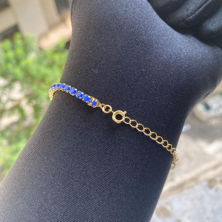 Pulseira Riviera 3mm (Pedras de Zircônia Azul) (Fecho Tradicional) (Banho Ouro 24k)