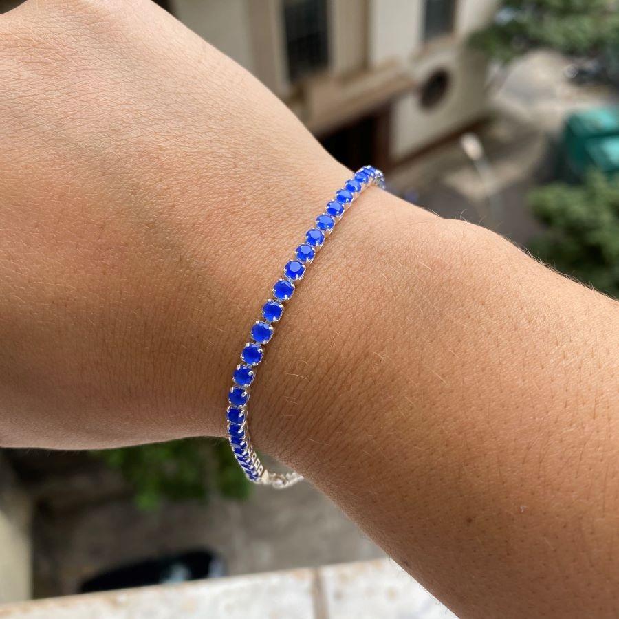 Pulseira Riviera 3mm (Pedras de Zircônia Azul) (Fecho Tradicional) (Banho Prata 925)