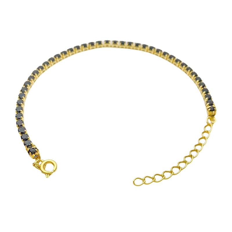 Pulseira Riviera 3mm (Pedras de Zircônia Preta) (Fecho Tradicional) (Banho Ouro 24k)