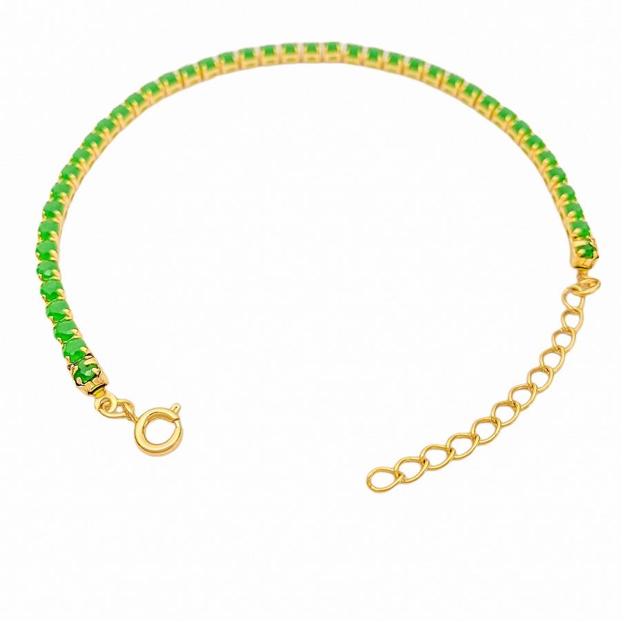 Pulseira Riviera 3mm (Pedras de Zircônia Verde) (Fecho Tradicional) (Banho Ouro 24k)