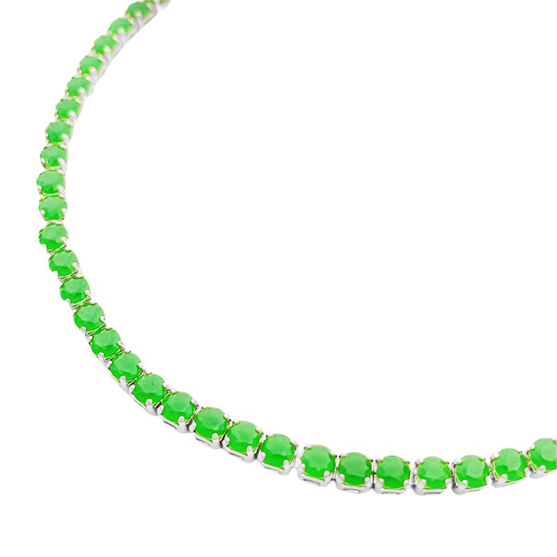 Pulseira Riviera 3mm (Pedras de Zircônia Verde) (Fecho Tradicional) (Banho Prata 925)