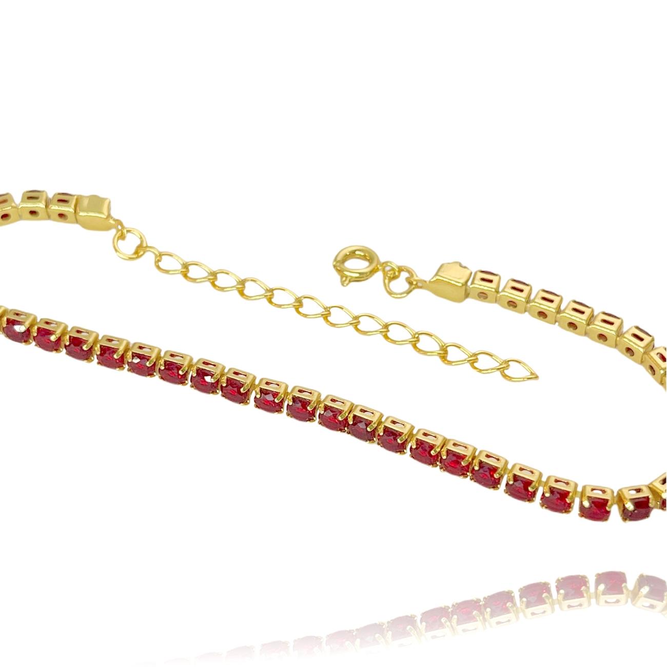 Pulseira Riviera 3mm (Pedras de Zircônia Vermelha) (Fecho Tradicional) (Banho Ouro 24k)