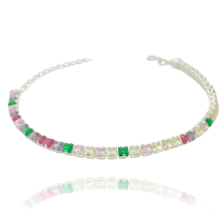 Pulseira Riviera Tennis Chain 3mm (Ajustável) (Pedras Zircônia Multi Colors) (Banho Prata 925)