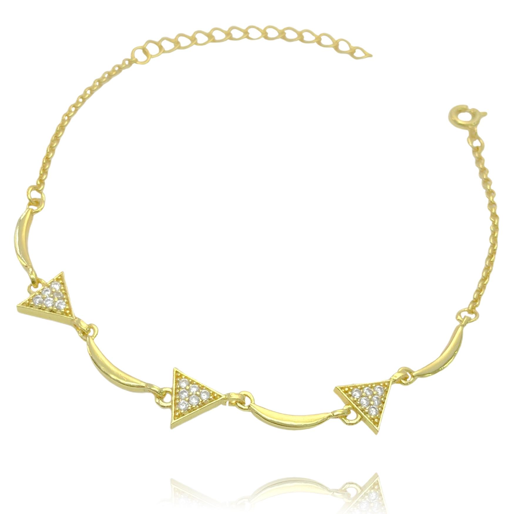 Pulseira Triângulos Cravejados em Zircônia (Banho Ouro 24k)