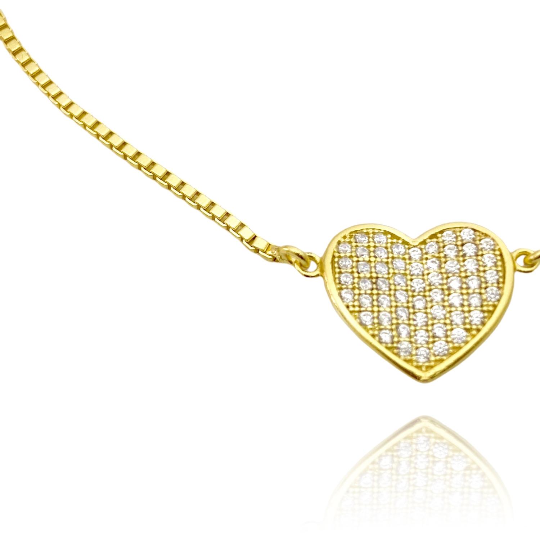 Pulseira Veneziana com Coração Cravejado em Zircônia (Banho Ouro 24k)