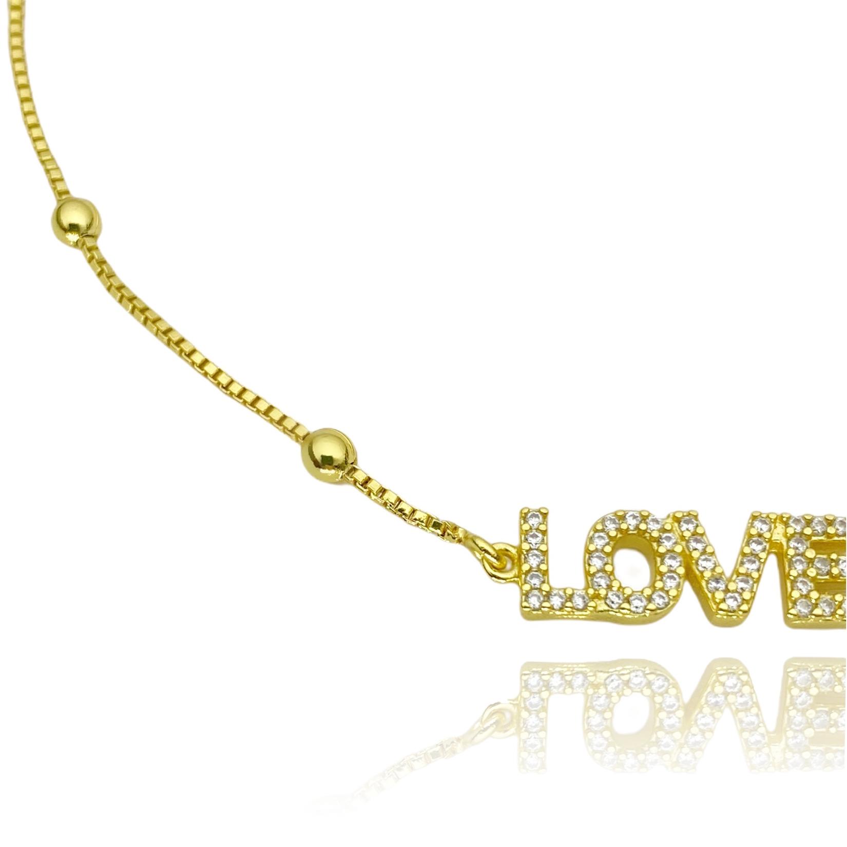 Pulseira Veneziana com Love Cravejado em Zircônia (Banho Ouro 24k)