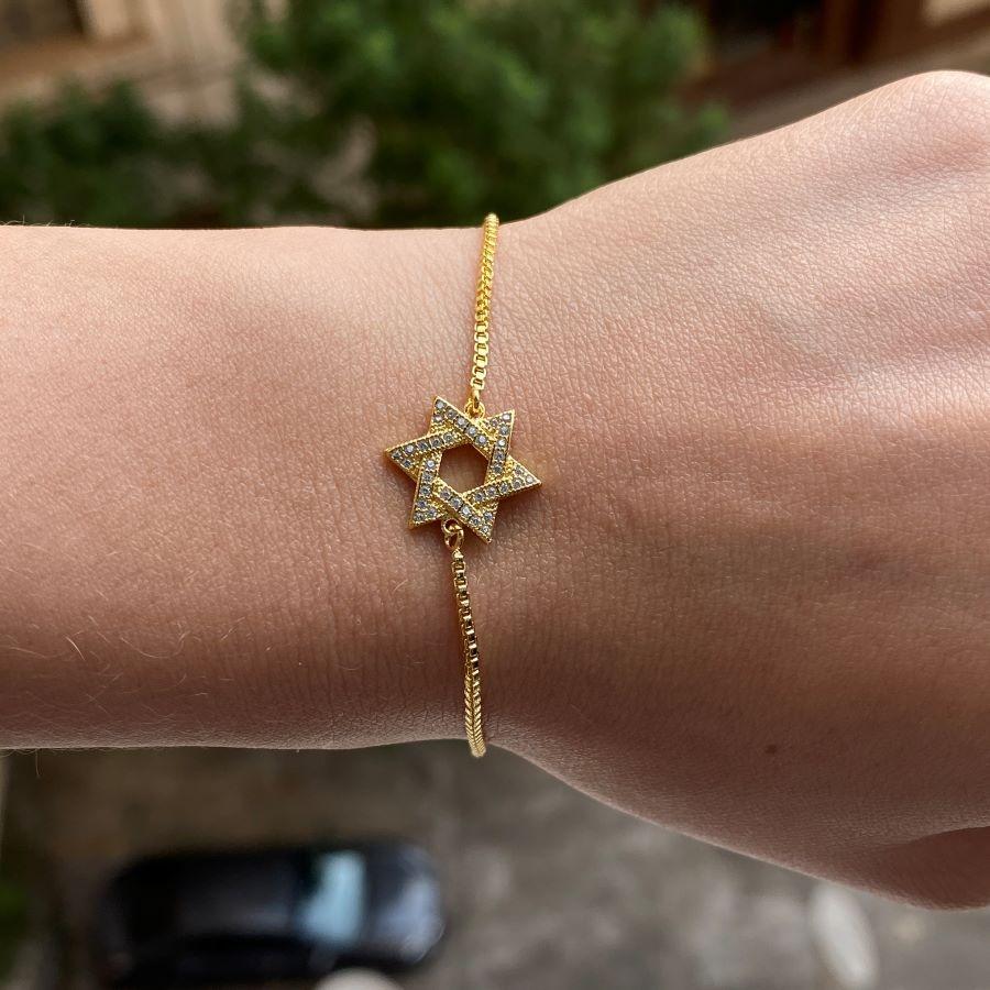 Pulseira Veneziana Estrela de Salomão Cravejada em Zircônia (Banho Ouro 24k)