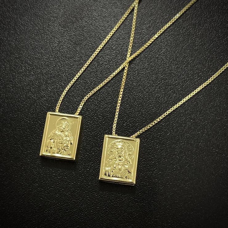 Sagrado Coração de Jesus e Nossa Senhora do Carmo 70cm Veneziana (Banho Ouro 24k)