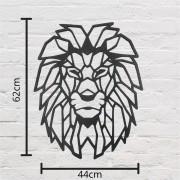 Escultura de Parede em Madeira Leão Geométrico 62cm