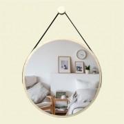 Espelho Redondo Adnet Minimalista Natural com Alça + Pendurador 60cm