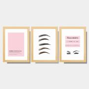 Kit Conjunto de Quadros Para Salão Sobrancelhas