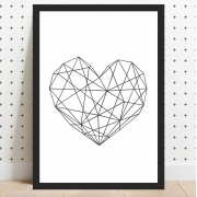 Quadro Decorativo Coração Geométrico Preto