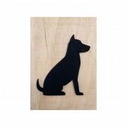 Quadro Escultura em Madeira Minimalista Cachorro