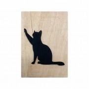 Quadro Escultura em Madeira Minimalista Gato