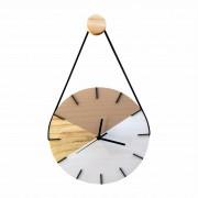 Relógio de Parede em Madeira Geométrico Avelã e Branco e Ponteiros Preto com Alça