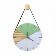 Relógio de Parede em Madeira Geométrico Verde e Branco e Ponteiros Prata com Alça