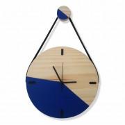 Relógio de Parede Decorativo Escandinavo Azul com Alça