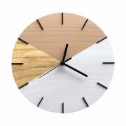 Relógio de Parede Geométrico Branco e Avelã com Detalhes Preto