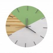 Relógio de Parede Geométrico em Madeira Branco e Verde Dolar