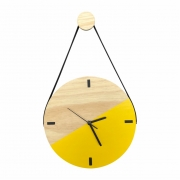 Relógio de Parede Escandinavo Duo Amarelo com Alça + Cabide Pendurador