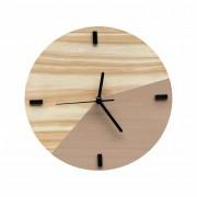 Relógio de Parede Escandinavo Duo Avelã 28cm