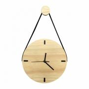 Relógio de Parede Escandinavo em Madeira Natural com Alça + Cabide Pendurador