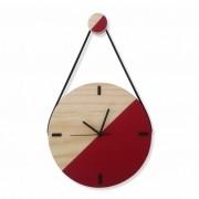 Relógio de Parede Escandinavo em Madeira Vermelho Ferrari com Alça