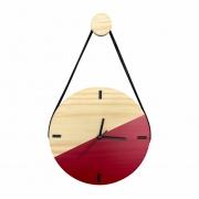 Relógio de Parede Escandinavo em Madeira Vermelho Ferrari com Alça + Pendurador