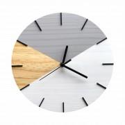 Relógio de Parede Geométrico Branco e Cinza com Ponteiros Preto 28cm