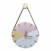 Relógio de Parede Geométrico Branco e Rosa com Alça Caramelo