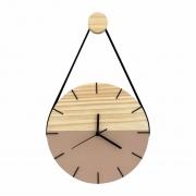 Relógio de Parede Minimalista Avelã com Alça