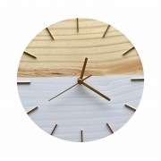 Relógio de Parede Minimalista Branco e Dourado 28cm