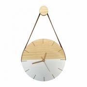 Relógio de Parede Minimalista Branco e Detalhes em Dourado com Alça Caramelo + Pendurador