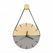 Relógio de Parede Minimalista Cinza e Detalhes em Preto com Alça + Pendurador