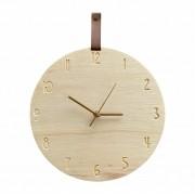 Relógio de Parede Minimalista em Madeira Caramelo 30cm