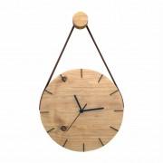 Relógio de Parede Minimalista em Madeira Imbuia com Alça