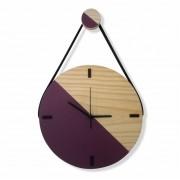 Relógio Decorativo Escandinavo Roxo Ameixa com Alça 28cm
